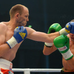 DRESDEN, GERMANY - SEPTEMBER 05:  Juergen Braehmer (L) of Germany exchanges punches with Konni Konrad of Germany during their WBA light heavyweight world championship fight at EnergieVerbund Arena on September 5, 2015 in Dresden, Germany.  (Photo by Thomas Eisenhuth/Bongarts/Getty Images) *** Local Caption *** Juergen Braehmer;Konni Konrad