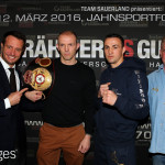BERLIN, GERMANY - FEBRUARY 16:  WBA light heavyweight world champion Juergen Braehmer (2nd of left) of Germany, promoter Kalle Sauerland (L), Eduard Gutknecht (2nd of right) of Germany and manager Winfried Spiering attend the press conference at Titanic hotel ahead of the WBA Light Heavyweight World Championship title fight between Juergen Braehmer and Eduard Gnutknecht on February 16, 2016 in Berlin, Germany.  (Photo by Martin Rose/Bongarts/Getty Images) *** Local Caption *** Juergen Braehmer; Kalle Sauerland; Eduard Gutknecht; Winfried Spiering